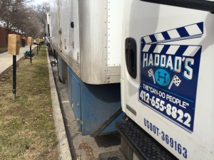 "Production trucks lined the streets around the Delaware Co. Courthouse for filming of ""How to Get Away"" in April."