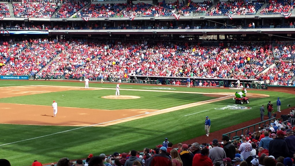 Phillies Opening Day from the third base line. (Doc from Swarthmore)