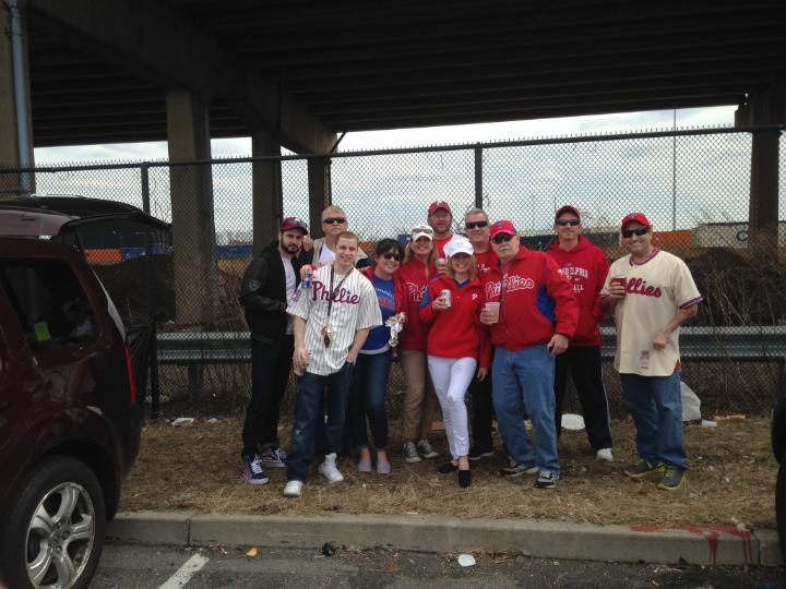 The crew from Steven's on State in Media tailgating at Opening Day